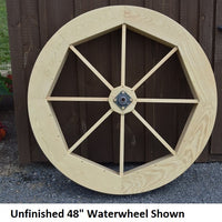 "48"" Amish-Made Decorative Rotating Wooden Water Wheel, Unfinished"
