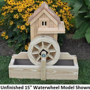 "Amish-Made Decorative Gristmill with 15"" Waterwheel, Unfinished"