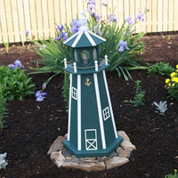 2' Amish-Made Painted Wooden Lighthouse, Lancaster Green with White Trim