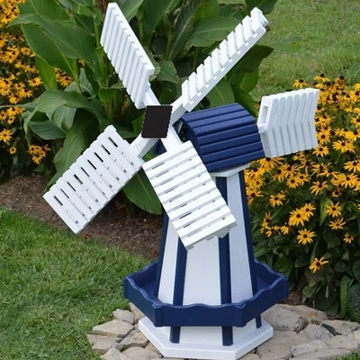 Amish-Made Painted Wooden Dutch Windmill, White with Navy Blue trim