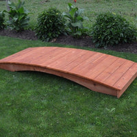 8' Amish-Made Weight-Bearing Cedar Plank Garden Bridge, Cedar Stain