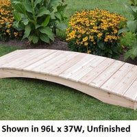 8' Amish-Made Weight-Bearing Cedar Plank Garden Bridge, Unfinished