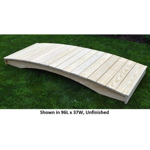 8' Amish-Made Weight-Bearing Yellow Pine Plank Garden Bridge, Unfinished