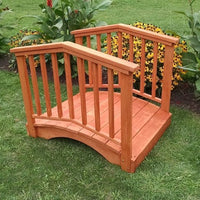 4' Amish-Made Weight-Bearing Yellow Pine Baluster Garden Bridge, Redwood Stain