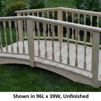 8' Amish-Made Weight-Bearing Yellow Pine Spindle Garden Bridge, Unfinished