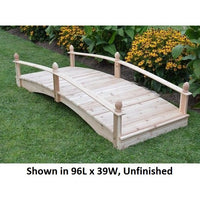 8' Amish-Made Weight-Bearing Cedar Acorn Garden Bridge, Unfinished