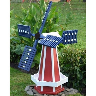 Amish-Made Patriotic Style Wooden Dutch Windmill