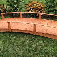 10' Amish-Made Weight-Bearing Yellow Pine Oriental Garden Bridge, Cedar Stain