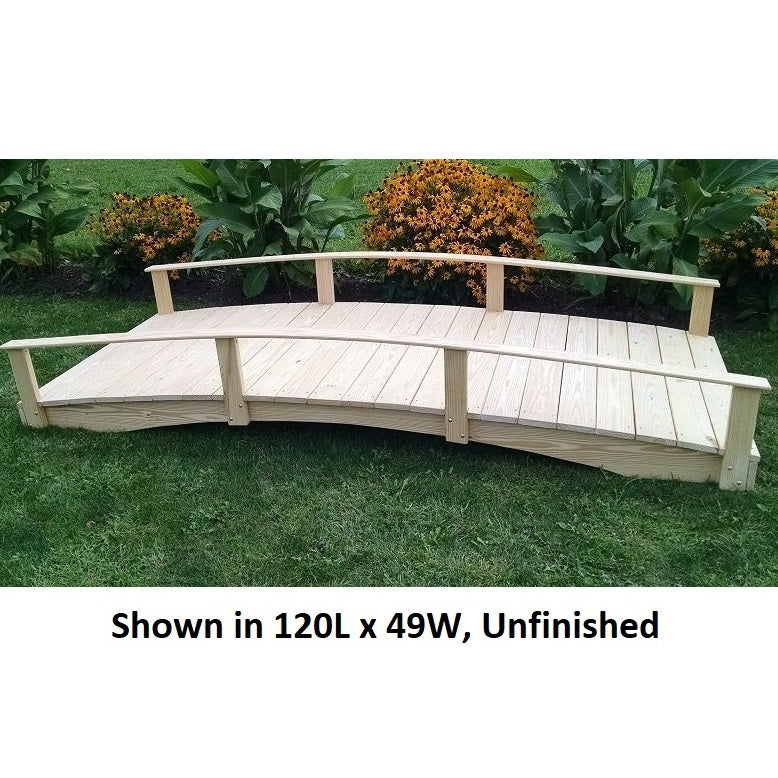 10' Amish-Made Weight-Bearing Yellow Pine Oriental Garden Bridge, Unfinished