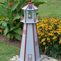 4' Amish-Made Painted Wooden Lighthouse, Cape Cod Gray with Red Trim
