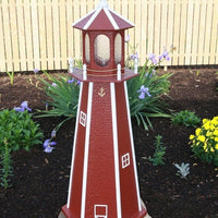 4' Amish-Made Painted Wooden Lighthouse, Stauffer Red with White Trim