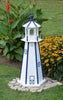 4' Amish-Made Painted Wooden Lighthouse, White with Navy Trim