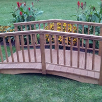 8' Amish-Made Weight-Bearing Yellow Pine Baluster Garden Bridge, Mushroom Stain