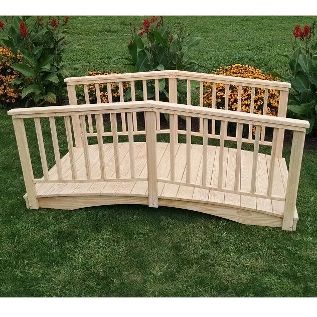 8' Amish-Made Weight-Bearing Yellow Pine Baluster Garden Bridge, Unfinished
