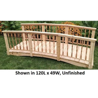 10' Amish-Made Weight-Bearing Cedar Spindle Garden Bridge, Unfinished