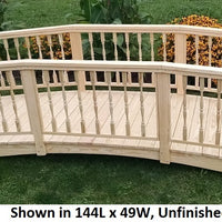 12' Amish-Made Weight-Bearing Yellow Pine Spindle Garden Bridge, Unfinished