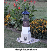 4' Hexagonal Amish-Made Wooden Oak Island, NC Replica Lighthouse