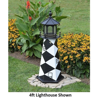 4' Hexagonal Amish-Made Wooden Cape Lookout, NC Replica Lighthouse