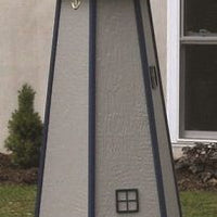 5' Amish-Made Painted Wooden Lighthouse, Dawn Gray with Navy Trim