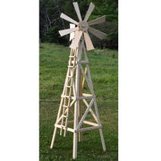 "Amish-Made 82"" Stained Wooden Farm Windmill Yard Decoration, Unfinished"