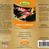 Product label for 16 ounce EasyPro Water Conditioner and Dechlorinator