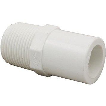 "PVC Straight Adapter, 1/2"" Male Thread (MPT) to 1/2"" Spigot (SPG)"