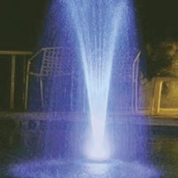 Complete Aquatics Floating Fountain with RGB Lighting illuminated at nighttime