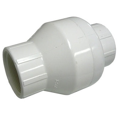 White PVC Spring Check Valves, Female Threaded Ends (FPT)