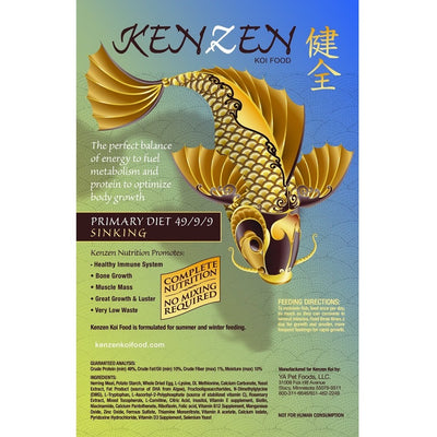 Kenzen Koi Food Primary Diet Sinking, 10 Pound Bag