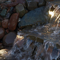 Pond Boss® Landscape and Fountain 3-Light Set in a waterfall