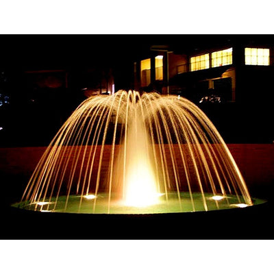 ProEco Display Fountain Spray Rings illuminated at night