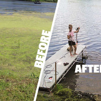 Before and after using Scott Aerator Floating AquaSweep
