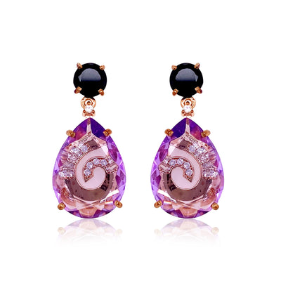 TRANSPARENZA Earrings - Black Quartz, Amethyst / RG