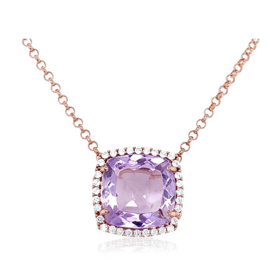 DEUX Necklace (1145) - Pink Amethyst / RG