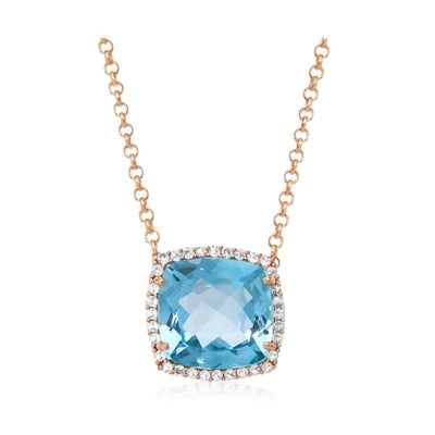 DEUX Necklace (1145) - Blue Topaz / RG