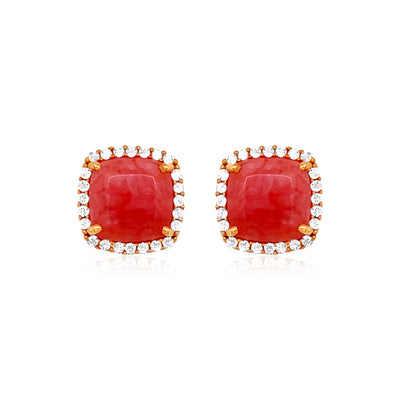 DEUX Earrings (1145) - Rose Chacedony / RG