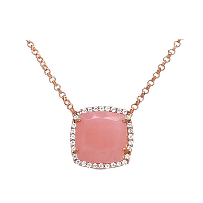 DEUX Necklace (1145) - Rose Chalcedony / RG
