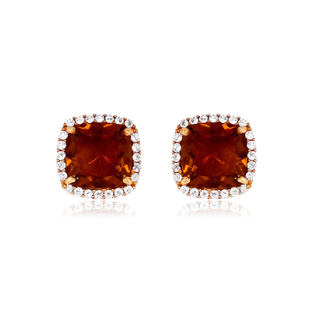 DEUX Earrings (1145) - Whisky Citrine / RG