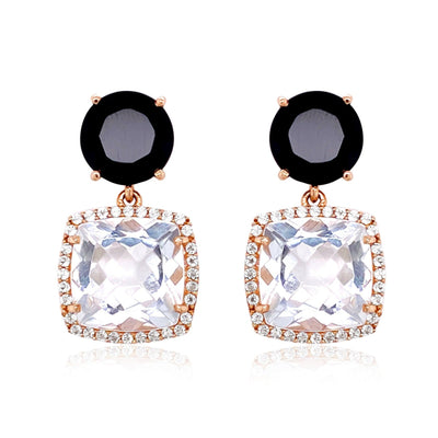 DEUX Earrings (1145) - Black Quartz, Crystal  / RG