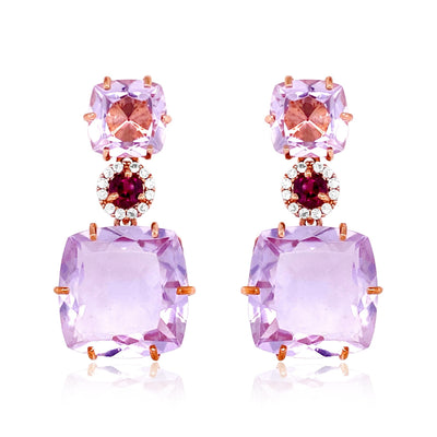 DEUX Earrings (1145) - Pink Amethyst, Rhodolite  / RG