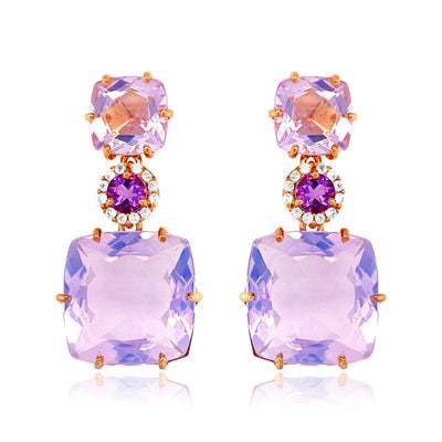 DEUX Earrings (1145) - Lilac Opal Amethyst, Amethyst  / RG