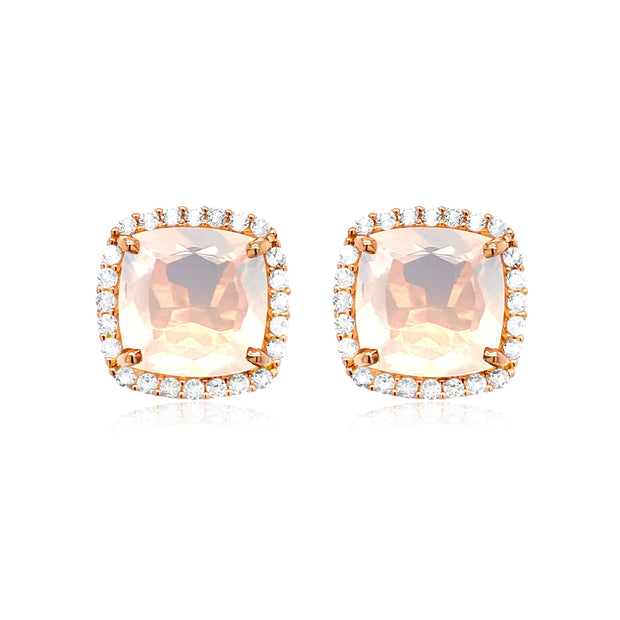 DEUX Earrings (1145) - Opal Quartz / RG
