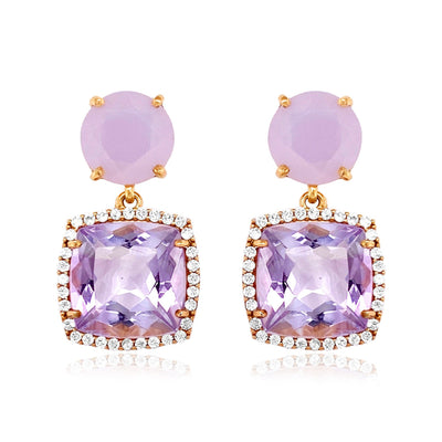 DEUX Earrings (1145) - Pink Amethyst, Lilac Opal Amethyst  / RG