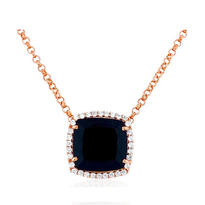 DEUX Necklace (1145) - Black Quartz / RG
