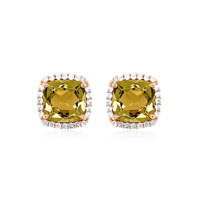 DEUX Earrings (1145) - Olive Quartz / YG