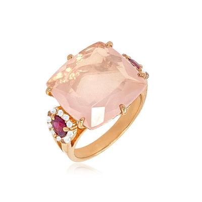 DEUX Ring (1145) - Rhodolite, Rose Quartz / RG