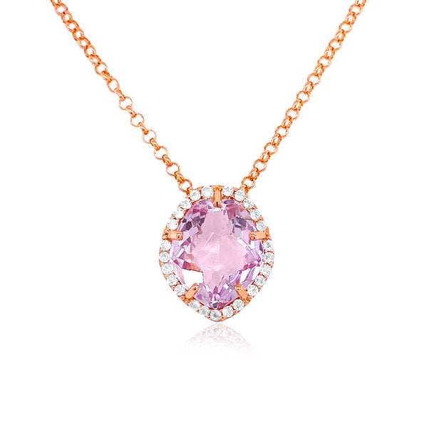PANORAMA Necklace - Pink Amethyst / RG