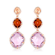 PANORAMA Earrings - Pink Amethyst, Whisky Citrine / RG