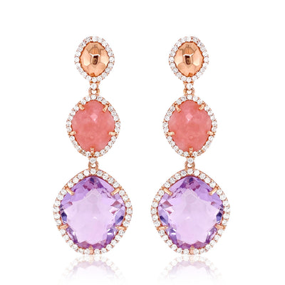 PANORAMA Earrings -  Pink Amethyst, Rose Chalcedony / RG