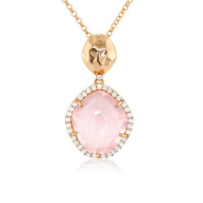 PANORAMA Necklace - Rose Quartz / YG